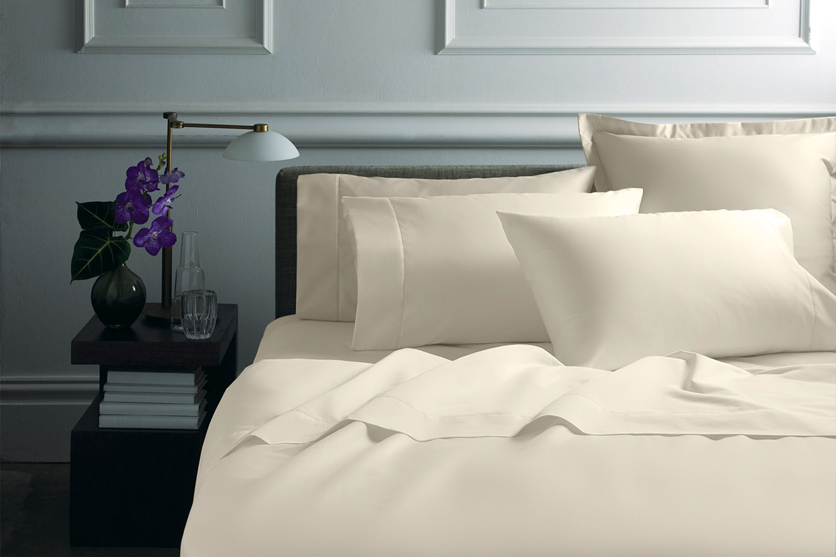 Sheridan 1000tc luxury cotton flat sheet - vanilla / double