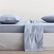 Sheridan 300Tc Organic Percale Fitted Sheet - Light Blue